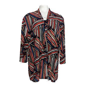 Serengeti Women's Plus Sweater 3/4 Sleeve Twinset Red / Blue