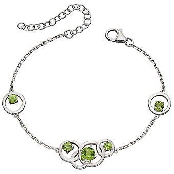 Elements Silver Round Peridot Bracelet - Silver/Green