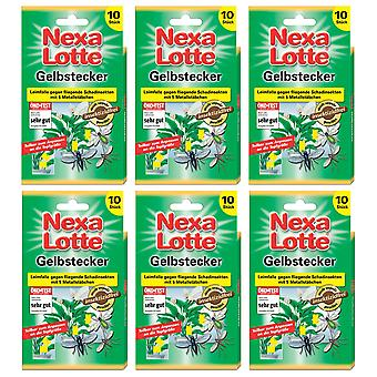 Sparset: 6 x NEXA LOTTE® yellow plug for potted plants, 10 pieces