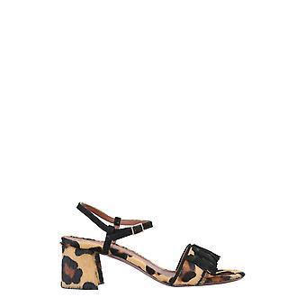 L'autre Koos Osl17260cp2978g133 Dames's Leopard Leather Sandals