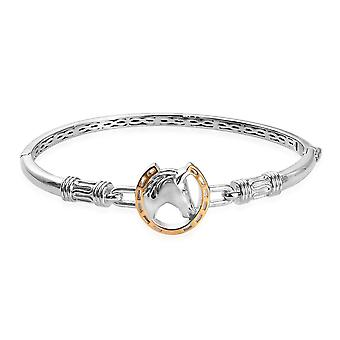 """KARIS Platine & Jaune Or Plaqué Cheval Charm Bracelet pour femmes Taille 7.5"""""""