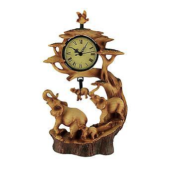 Elephant Family Safari Carved Wood Look Clock Figurine