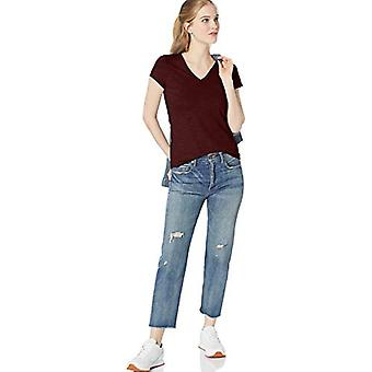 Merkki - Daily Ritual Women's Lightweight Lived-in Cotton Pocket V-Neck T-paita, Maroon, X-Small