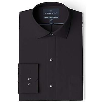 """BUTTONED DOWN Men's Classic Fit Spread Collar Solid Pocket Options, Black 17"""" Neck 37"""" Sleeve"""