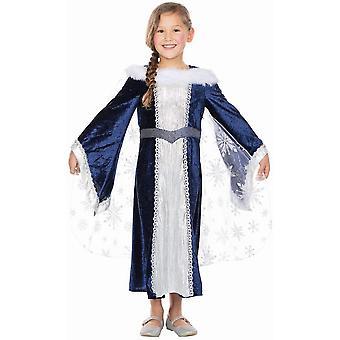 Burgfräulein Maggie Kinder Prinzessin Kostüm 2-teilig dunkelblaues Kleid mit Cape Königin Eisprinzessin