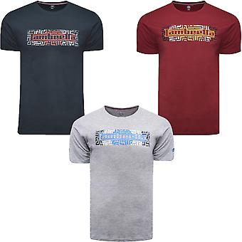 Lambretta Mens Geo Logo Cotton Casual Short Sleeve Crew Neck Tee T-Shirt Top