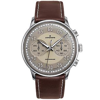 Junghans Meister Driver Chronoscope Automatic 027/3684.00 Brown Leather Strap Grey Dial Men's Watch