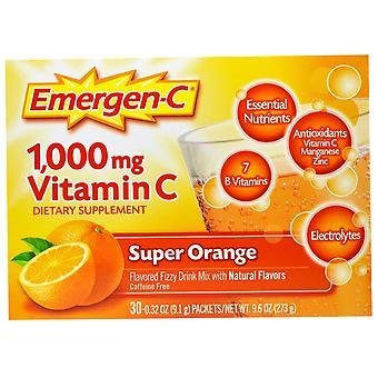 Emergen-C, 1,000 mg Vitamin C, Super Orange, 30 Packets, 0.32 oz (9.1 g) Each