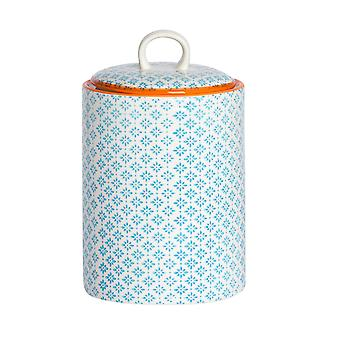 Nicola Spring Hand-Printed Biscuit Barrel - Porcelain Kitchen Storage Canister with Seal - Blue - 15.5 x 25cm