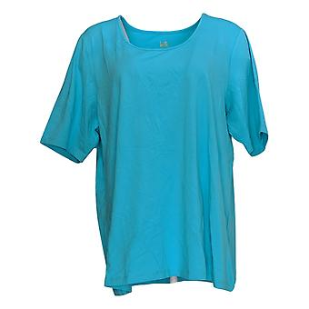 Belle by Kim Gravel Women's Top Essentials Elbow Sleeve Scoop Blue A291216