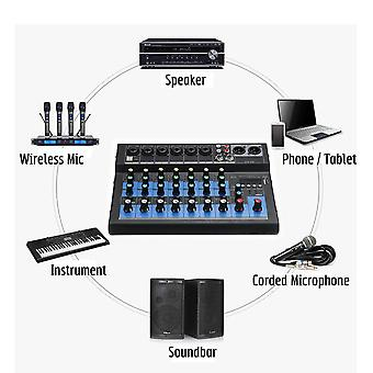 8 Channel Sound Mixer Console 48v Digital Microphone Bluetooth Powerful Professional Karaoke Audio Mixer Amplifier