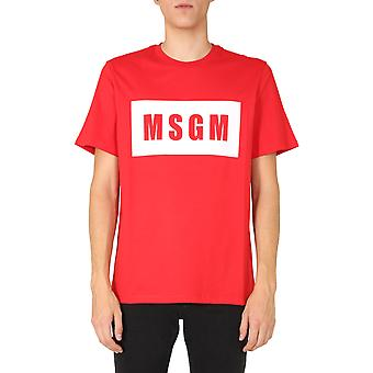 Msgm 2940mm6720759818 Mænd's Red Cotton T-shirt