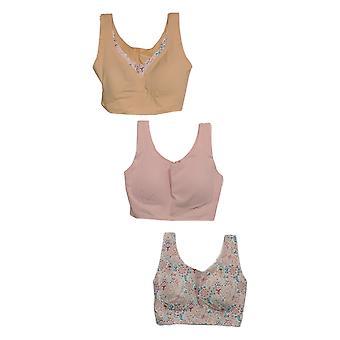 Rhonda Shear One Pink/Beige Paisley Bra Set Wire Free Nylon 730-792