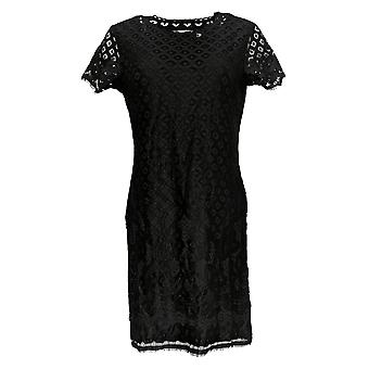 Isaac Mizrahi Live! Frauen's Stretch Lace Kurzarm kleid schwarz A288082