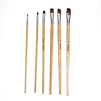6pcs Hobby Paint Brushes Set For Oil Painting Watercolors Odd Numbers Nlyon Hair