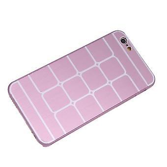 Lattice Grid Protective Brushed Aluminum Hard Back Case Cover Skin for Apple iPhone 6 Pink