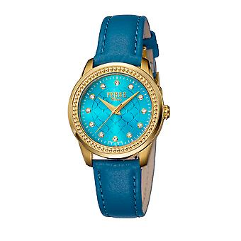 Ferre Milano FM1L063L0021 Gold watch, Blue leather band, light blue dial