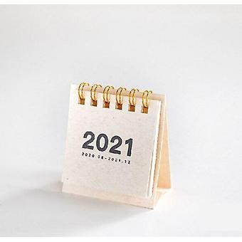 2021 Kraft Papier Tagesplaner, Desktop Mini Coil Kalender