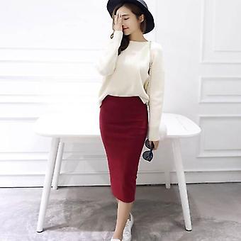 Autumn Winter Bodycon Skirt Women Stretchable Split Mid Calf Slim Pencil Female