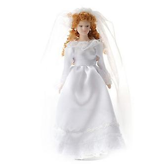 Dolls House Bride With Ringletts Porcelain Wedding Figure Lady Woman