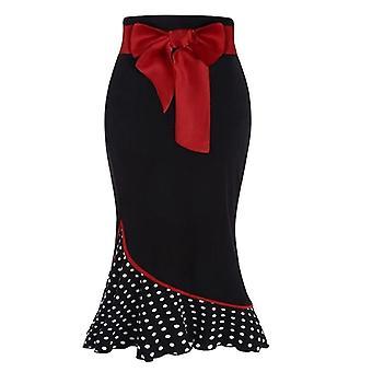 Women's Χριστούγεννα Bow Belt Polka Dot ράψιμο βολάν fishtail επίσημη φούστα