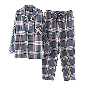 YANGFAN Men's Cotton Pajama Set Plaid Woven Sleepwear