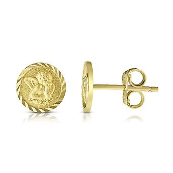 14k Boucles d'oreilles 14k Yellow Gold Round Angel Stud