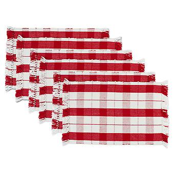Dii Red Tinsel Plaid Fringed Placemat (Conjunto de 6)