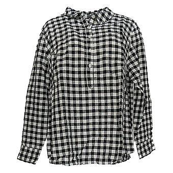 Rachel Hollis Ltd Women's Top Plus Woven Henley Shirt Black A354055