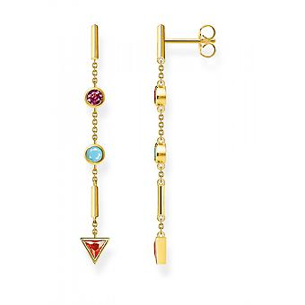 Thomas Sabo Sterling Silver Gold Plated Zirconia Multicoloured Stones Earrings H2178-488-7