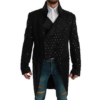 سترة الحرير الأسود كريستال معطف السترة