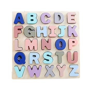 Building Blocks Numbers Letters Puzzle Board Kids Wooden Educational Brick Toys