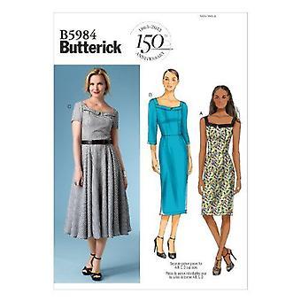 Butterick ompelu kuvio 5984 Misses Vuorattu Mekko Koko 8-16 Leikkaamaton