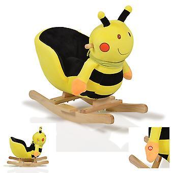 Pluszowa bujana pszczoła WJ-635 funkcja dźwięku, drewniane uchwyty od 12 miesięcy