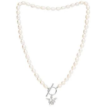Pearls of the Orient Vita Freshwater Pearl Bumble Bee Charm Necklace - Silver
