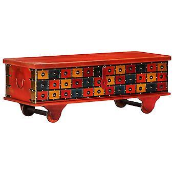 vidaXL coffre de rangement rouge 110 x 40 x 40 cm bois massif acacia