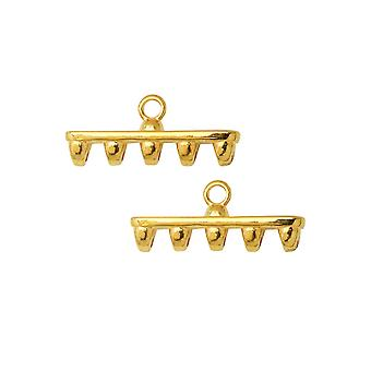 Cymbal Bead Endings para SuperDuo Beads, Rozos V, 8x19.5mm, 2 Piezas, 24k Gold Plated