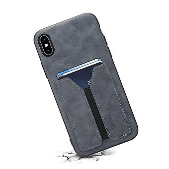 Leather wallet card slot case for iphone7plus/8plus dark gray on821