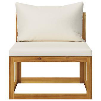 vidaXL Modulaire middenbank met crème wit kussen acacia massief hout