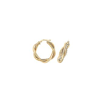 Eternity 9ct Gold 20mm Round Plaited Creole Hoop Earrings