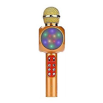Altın profesyonel bluetooth kablosuz mikrofon el hoparlör karaoke müzik çalar az2962