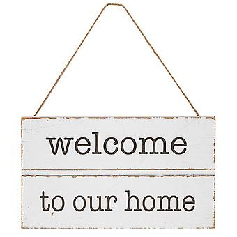 Homestyle Hanging Wood Plaque Welcome