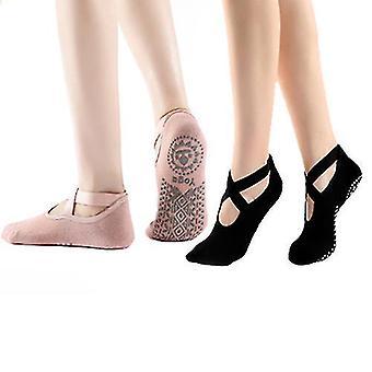 Yoga Socks For Women Non Slip Socks For Yoga Pilates 2 Pairs(Black Skin)
