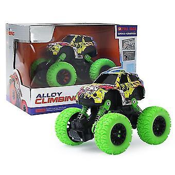 אינרציאלי למשוך בחזרה דו גלגלי כונן נגד נפילה מחוץ לכביש צעצוע מכונית מסגסוגת(ירוק)