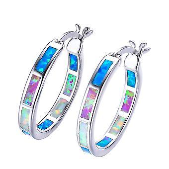 Round Hoop Dangle Earrings Fire Opal Jewelry Vintage Fashion Rainbow Birthstone Earrings(Colorful)