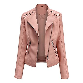 נשים ז'קט עור PU רזה צבע אחיד רוכסן מוטו מעיל