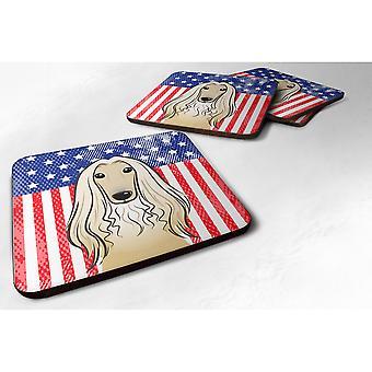Caroline's Treasures BB2174FC Bandiera americana e sottobicchiere in schiuma di cane afghano (set di 4), 3.5, Multicolor