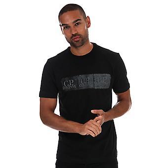 T-shirt pour hommes C.P. Company Distressed Chest Logo en noir