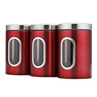 3pcs Set With Seal Cover Food Preservation Container Stainless Steel Kitchen Storage Box(red)