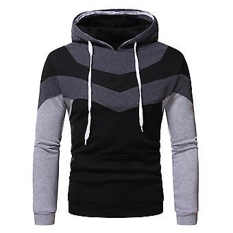 Men & apos;ق كتلة اللون pullover مقنعين pullstring قميص فضفاض